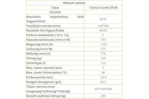 CELSIUS COMBI 50-56 56KW SZILÁRD TÜZELÉSŰ KAZÁN